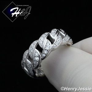 925 STERLING SILVER FULL ICY CURB LINK RING*SR128